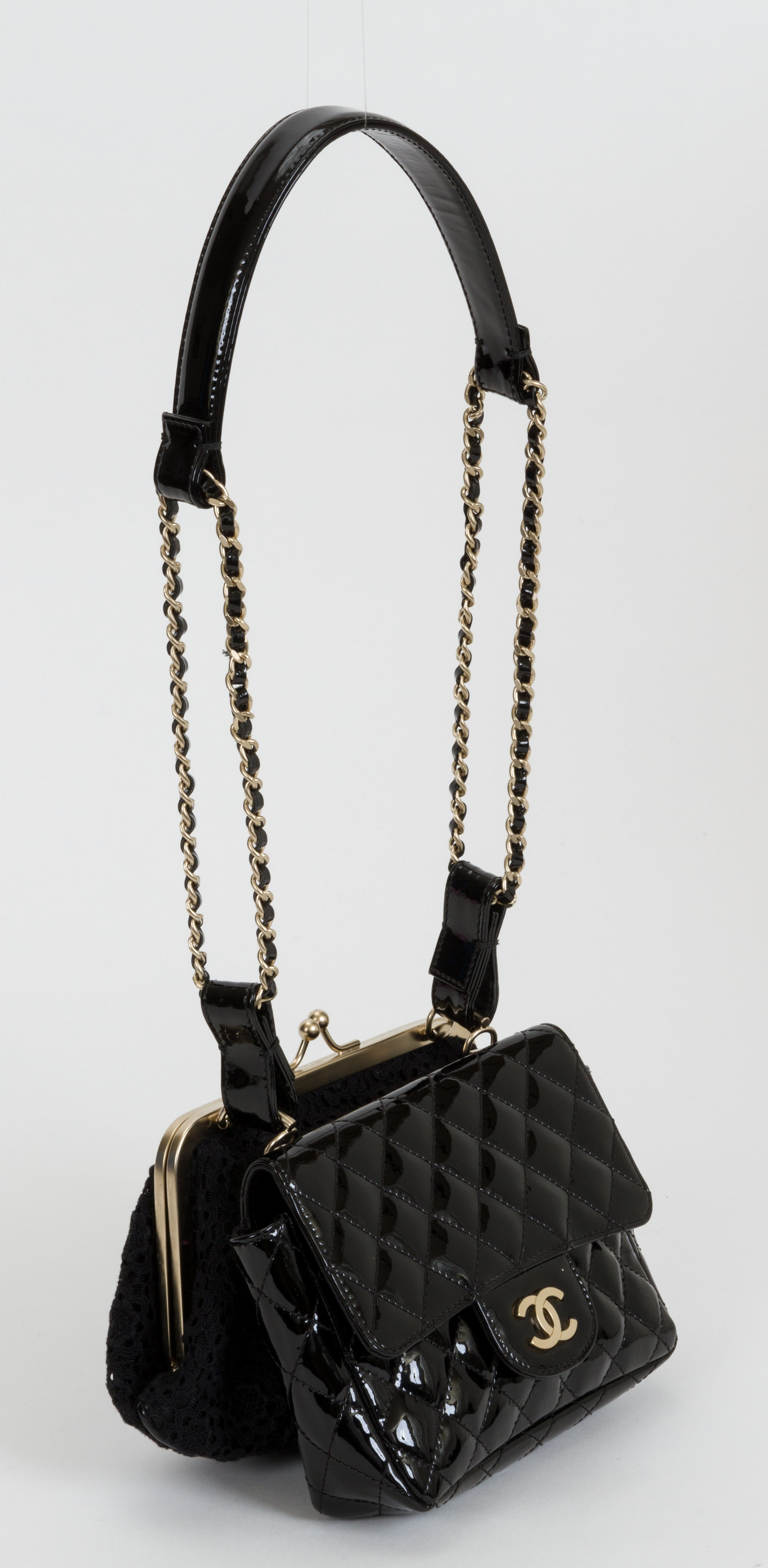 d43426c4d277 Chanel Black Lace and Patent Double Bag at 1stdibs