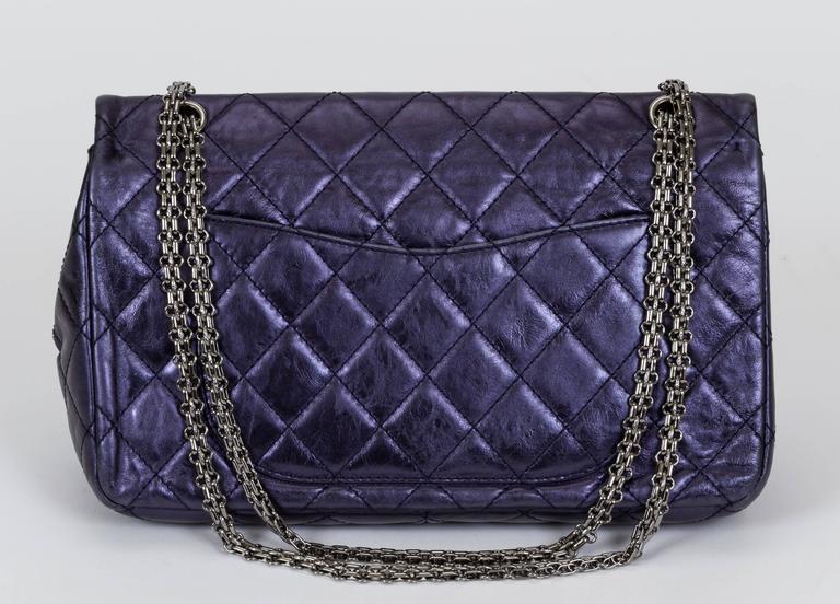 Chanel Jumbo Metallic Blue Reissue Flap 3
