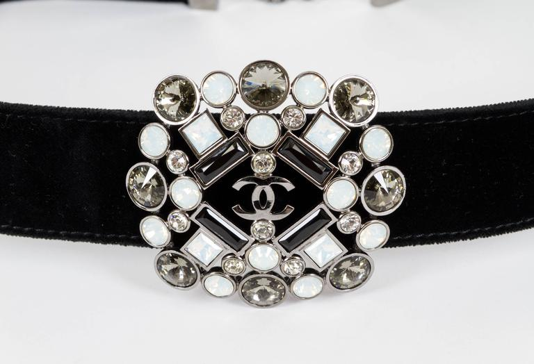 "Chanel black velvet belt with jewel gripoix center piece. Autumn 2006 Collection. 35.5""L. Comes with original box."