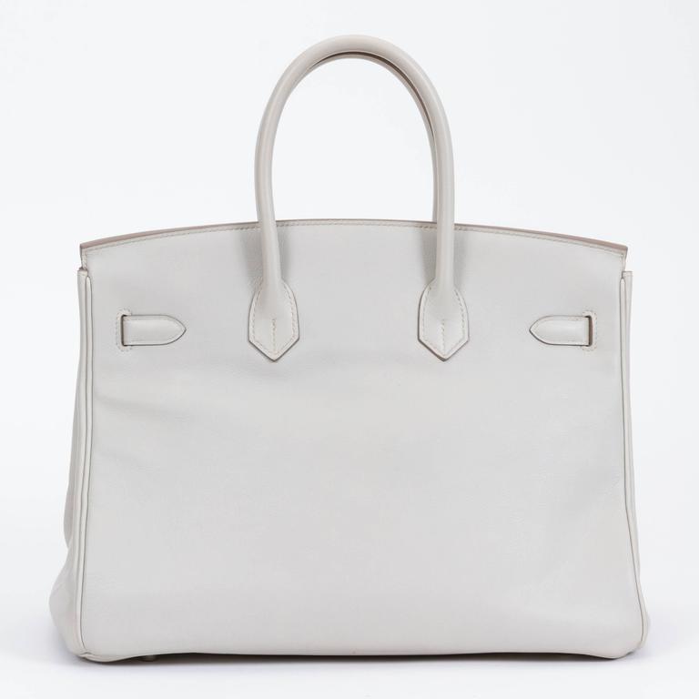 Gray Hermès Birkin 35cm Gris Perle Swift Bag For Sale