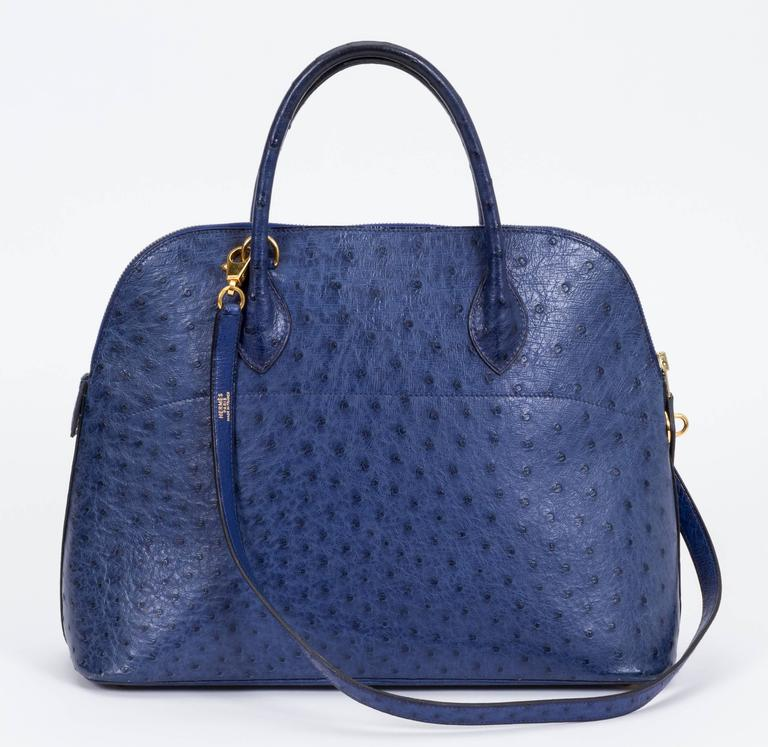 Hermès Blue 35cm Ostrich Bolide Bag In Good Condition For Sale In Los Angeles, CA