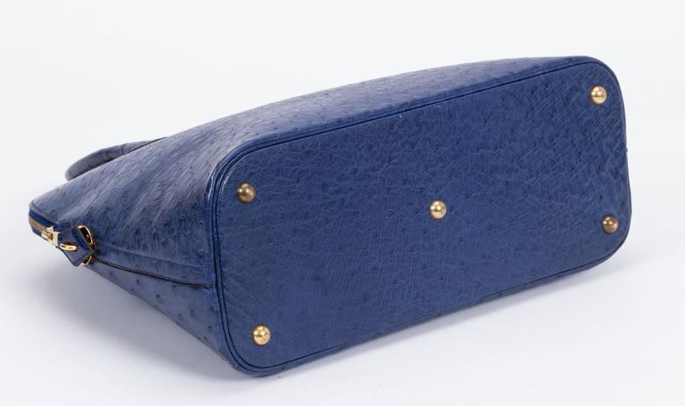 Women's Hermès Blue 35cm Ostrich Bolide Bag For Sale