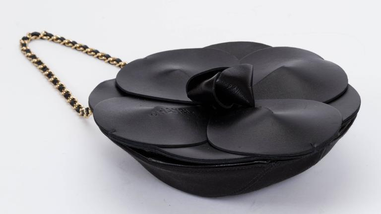 Chanel Rare Leather Camellia Evening Bag In Excellent Condition For Sale In Los Angeles, CA
