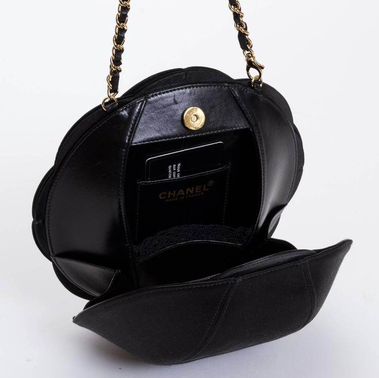 Chanel Rare Leather Camellia Evening Bag For Sale 2