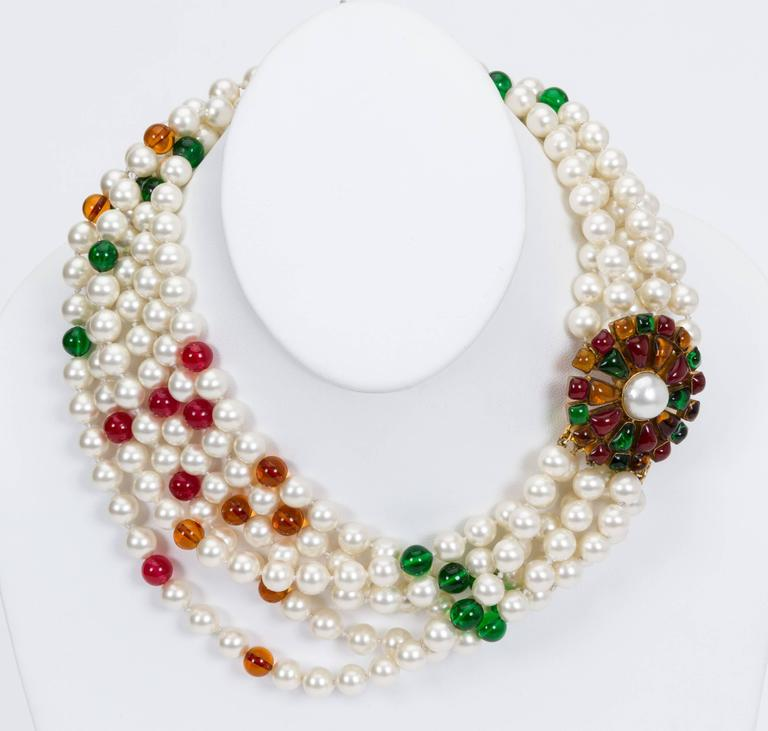 1970s Chanel Pearl & Gripoix Necklace 4