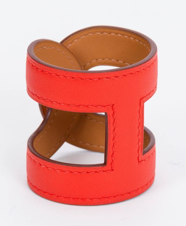 Hermès Capucine Stretch Leather Cuff Bracelet 3