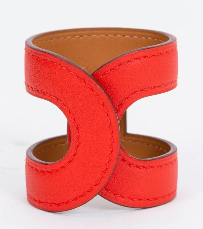 Hermès Capucine Stretch Leather Cuff Bracelet 4