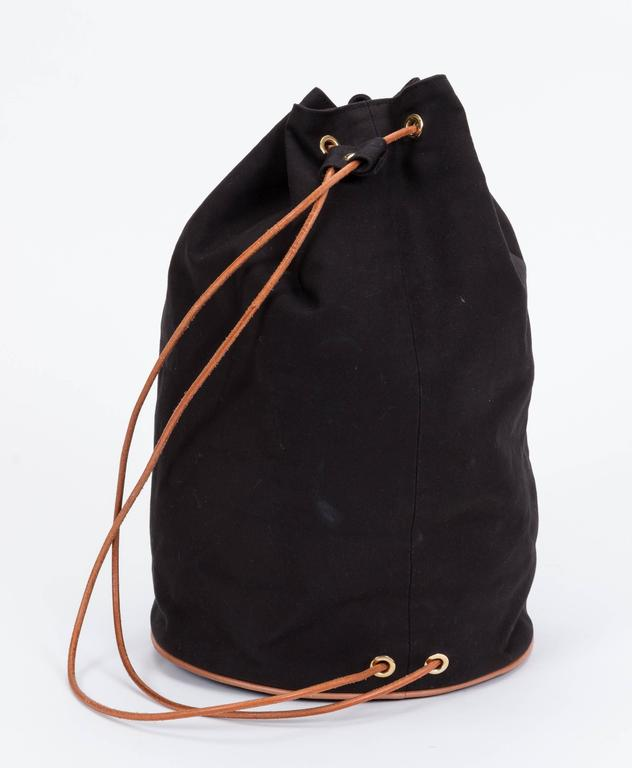 Hermes Black Toile/Cuir Backpack In Good Condition For Sale In Los Angeles, CA