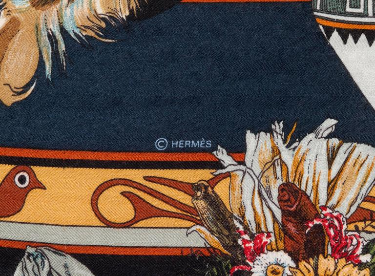 "New in Box Hermes Collectible Black Kachinas 54"" Cashmere Shawl Scarf, Oliver 4"