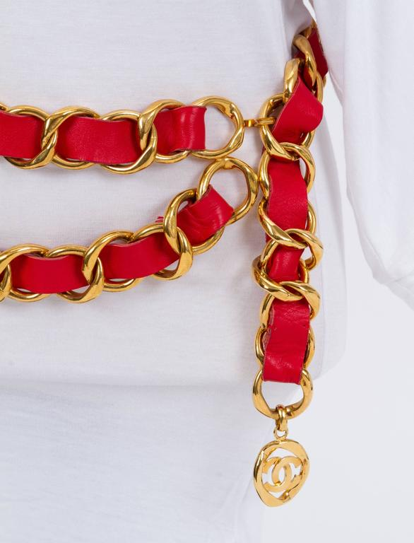 Oversized 1980s Chanel Red & Gold Belt 2