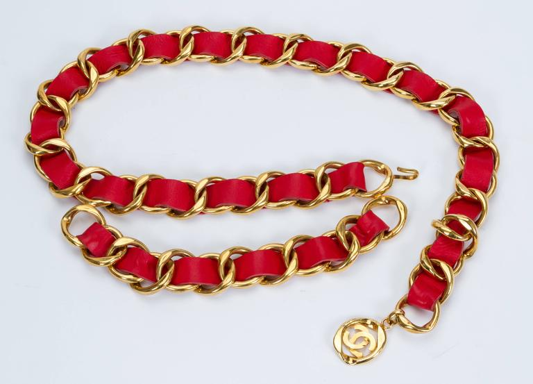Oversized 1980s Chanel Red & Gold Belt 3