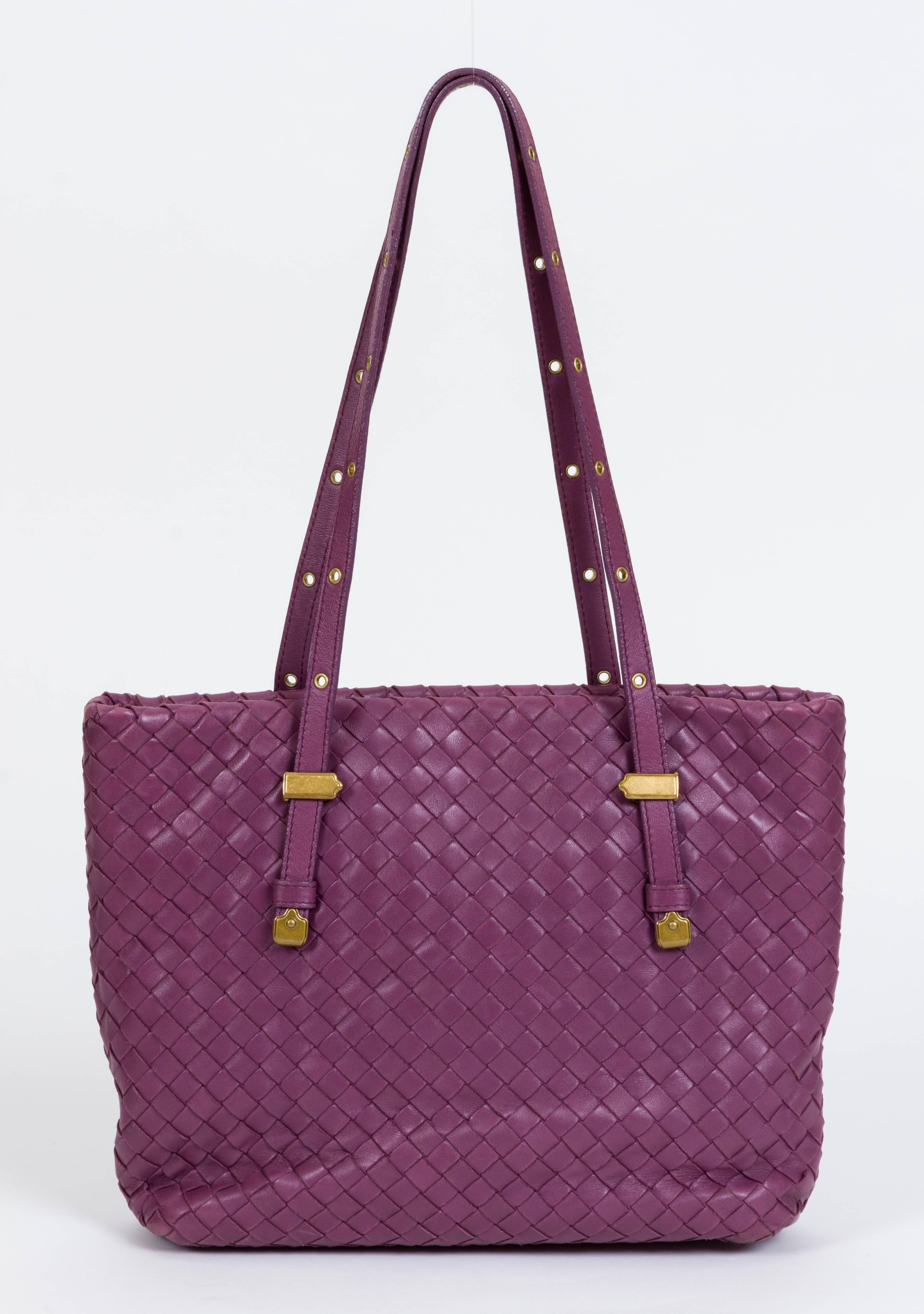 dbae65ac0dea Bottega Veneta Purple Woven Medium Tote Bag For Sale at 1stdibs