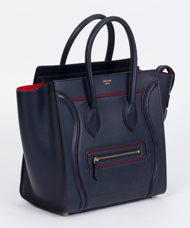 b4a32553201 Celine Limited Edition Navy Red Leather Mini Luggage Bag