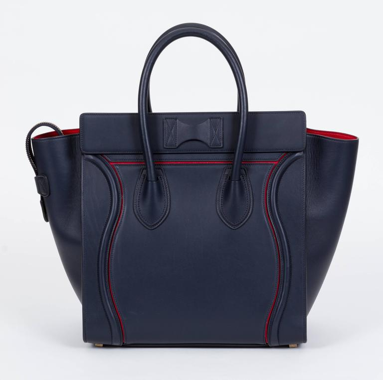 4ac9ca90ec143 Black Celine Limited Edition Navy Red Leather Mini Luggage Bag For Sale