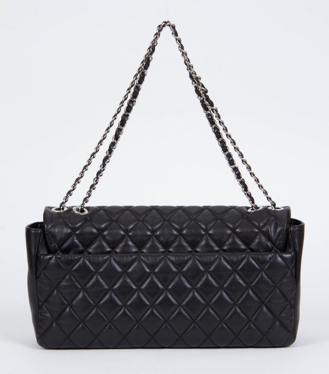 Chanel Jumbo Black Rain Jacket Flap Bag In Excellent Condition For Sale In Los Angeles, CA