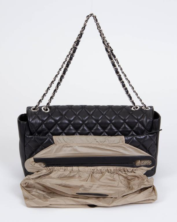Women's or Men's Chanel Jumbo Black Rain Jacket Flap Bag For Sale