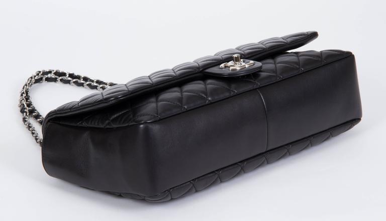 Chanel Jumbo Black Rain Jacket Flap Bag For Sale 4