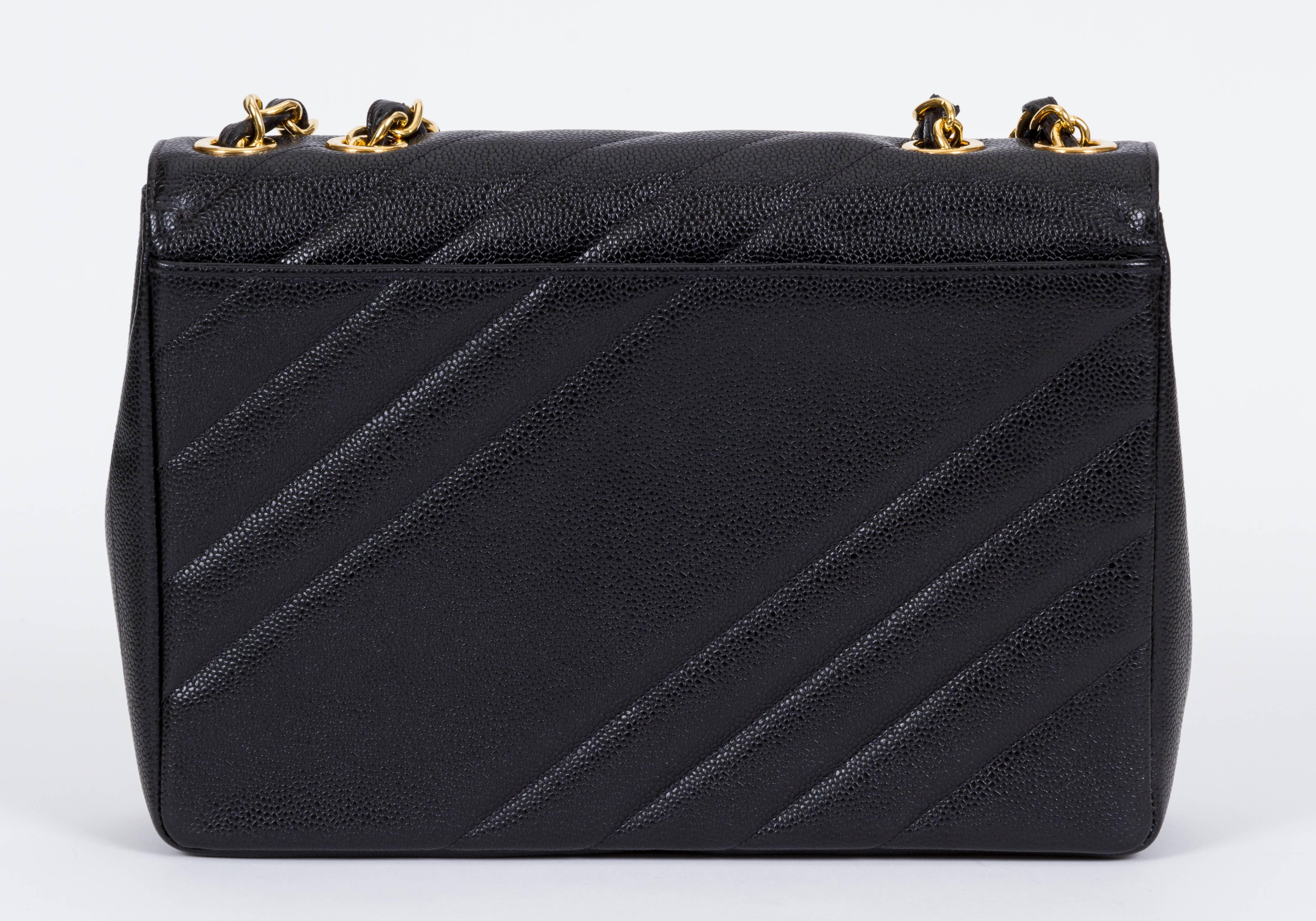 29dc10beec0d Chanel Black Caviar Diagonal Jumbo Bag at 1stdibs