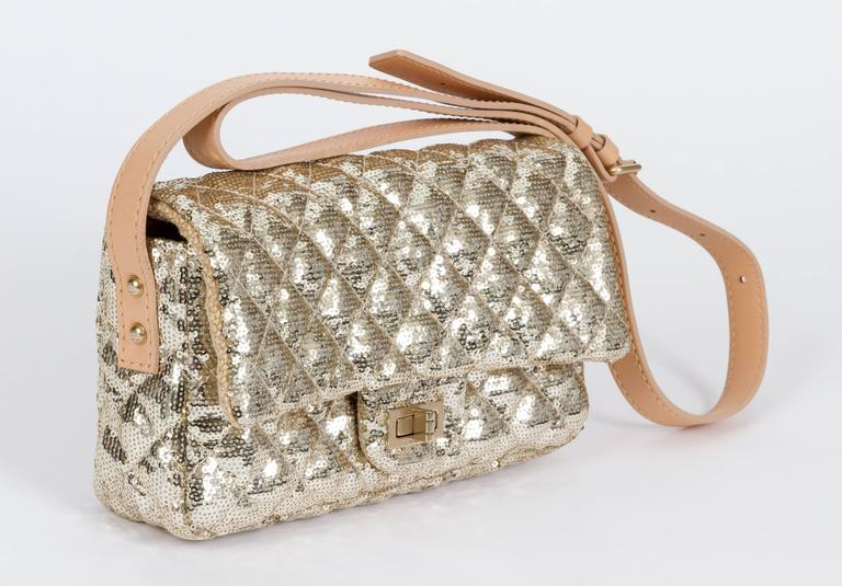 Chanel Gold Sequins Cross Body Bag 2