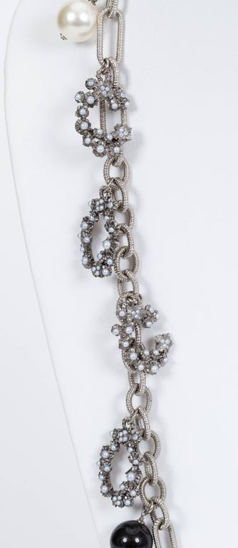 Chanel Coco Pearl Silver Long Necklace 2