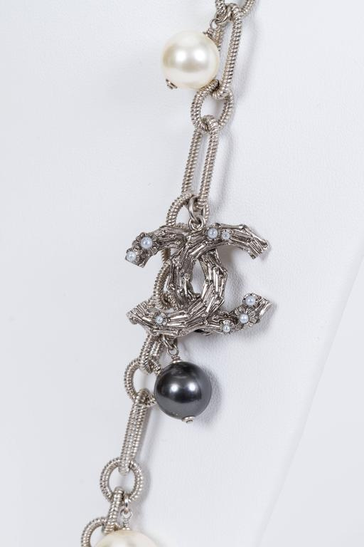 Chanel Coco Pearl Silver Long Necklace 4