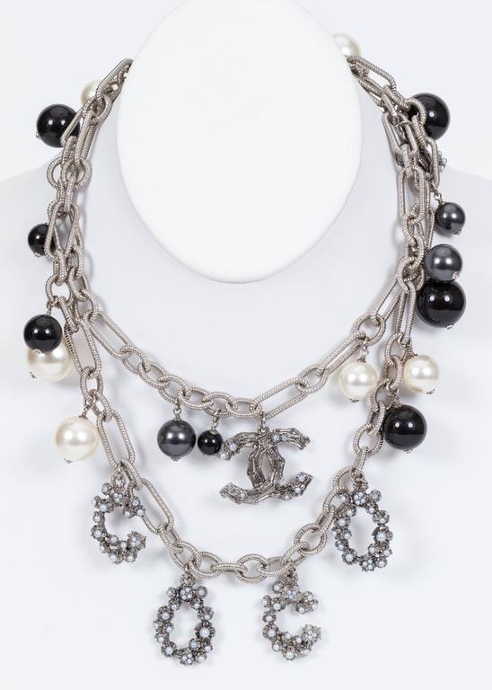 Chanel Coco Pearl Silver Long Necklace 5