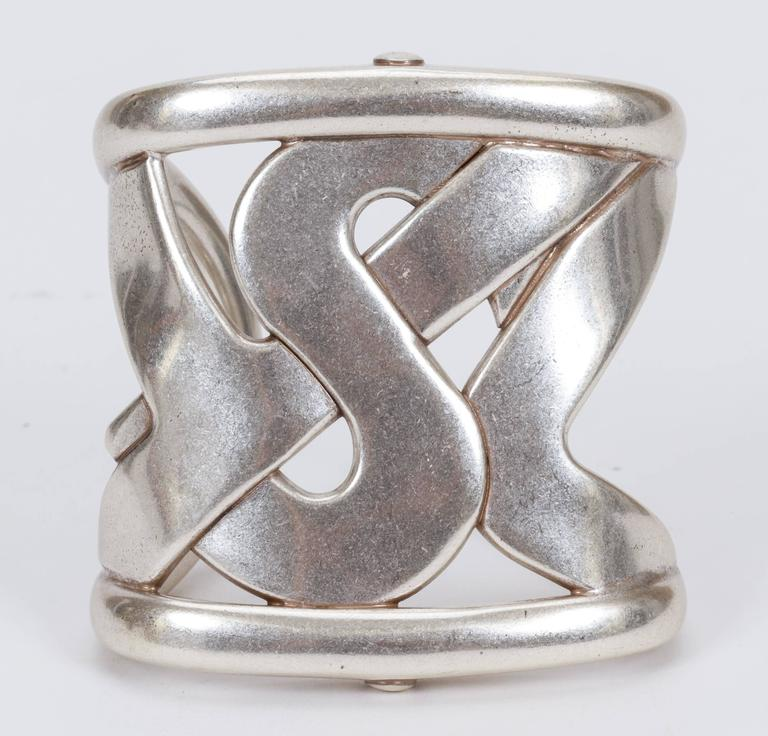 YSL Oversize Silver Cuff Bracelet In Good Condition For Sale In Los Angeles, CA