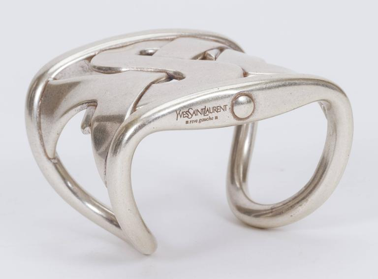 YSL Oversize Silver Cuff Bracelet For Sale 1