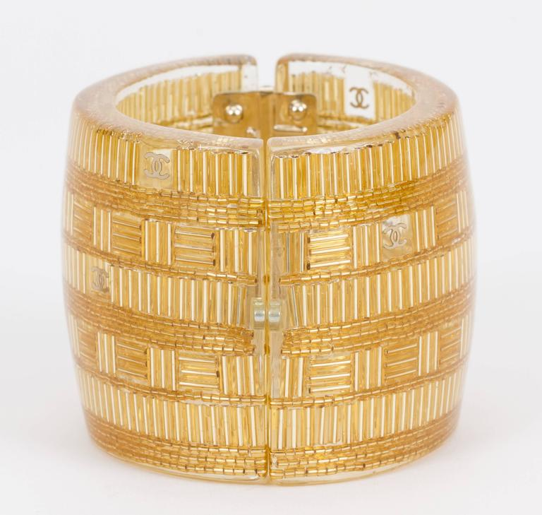 Chanel Clear & Gold Lucite Cuff Bracelet In Excellent Condition For Sale In Los Angeles, CA