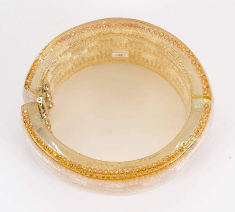 Chanel Clear & Gold Lucite Cuff Bracelet For Sale 1