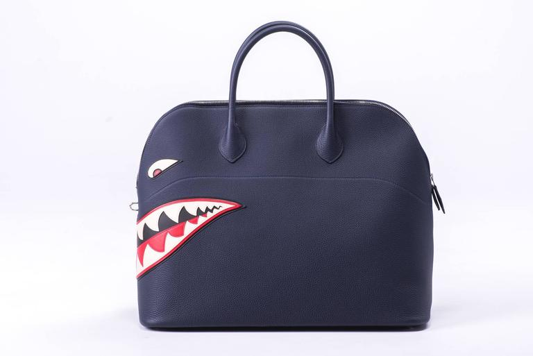 New in Box Hermes Limited Edition Indigo Blue Shark Bolide Bag 4