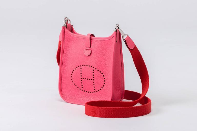 Red New Hermes Rose Azalee Mini Evelyne Clemence Bag For Sale