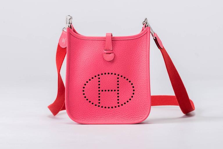 Women's New Hermes Rose Azalee Mini Evelyne Clemence Bag For Sale