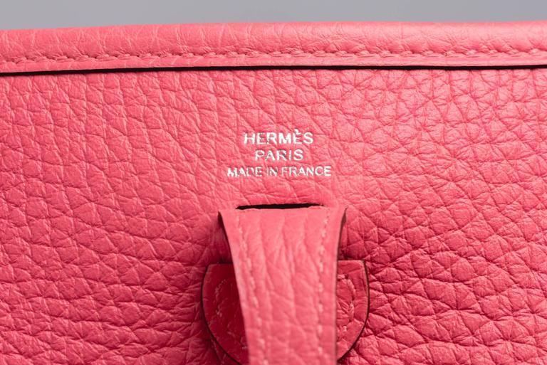 New Hermes Rose Azalee Mini Evelyne Clemence Bag For Sale 2