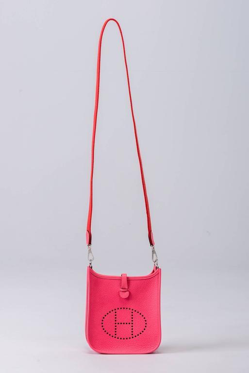 New Hermes Rose Azalee Mini Evelyne Clemence Bag For Sale 5