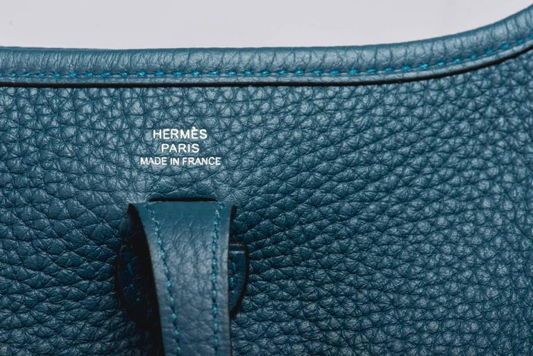 Women's New in Box Hermes Evelyne Mini Blue Colvert/Lime For Sale