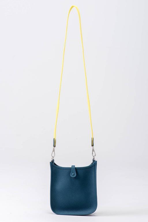 New in Box Hermes Evelyne Mini Blue Colvert/Lime 7
