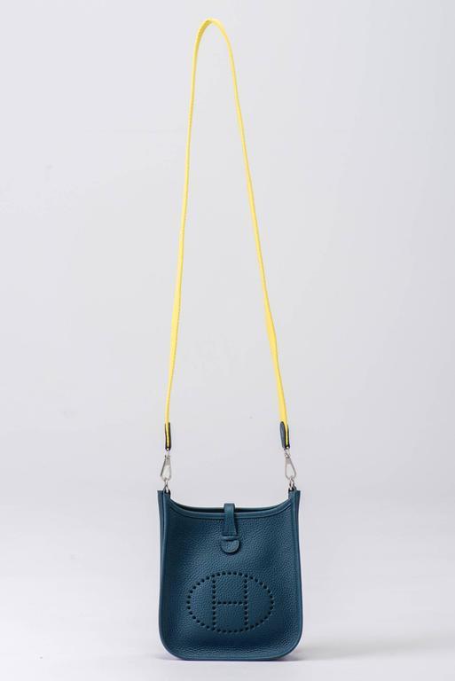 New in Box Hermes Evelyne Mini Blue Colvert/Lime 8