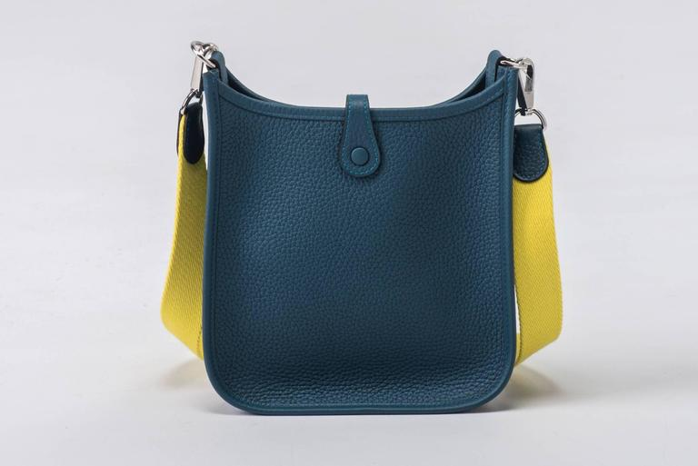New in Box Hermes Evelyne Mini Blue Colvert/Lime For Sale 5
