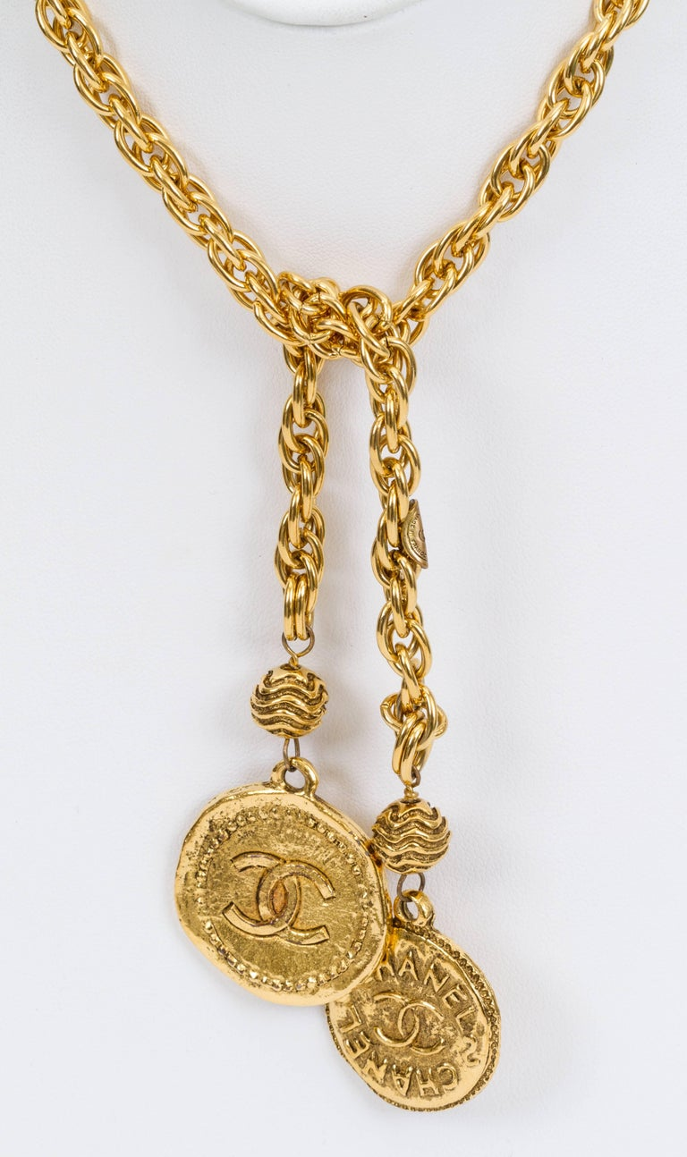 1970s chanel gold chain lariat necklace at 1stdibs