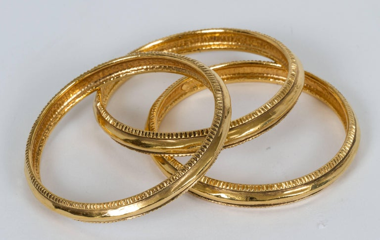 Women's Vintage Chanel Gold Plated Bangle Bracelets - Set of 3 For Sale