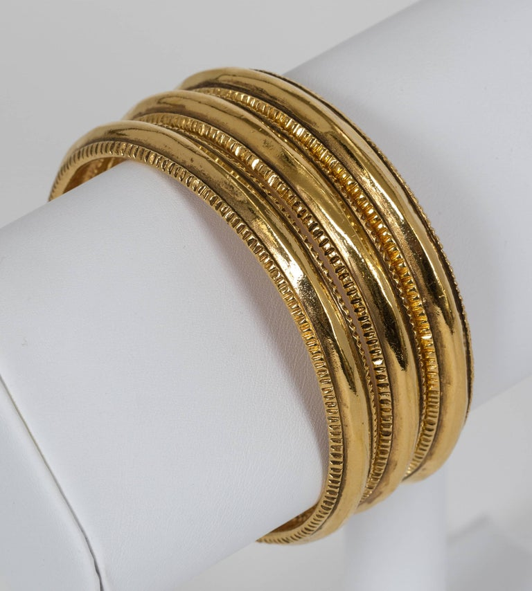 Vintage Chanel Gold Plated Bangle Bracelets - Set of 3 For Sale 2