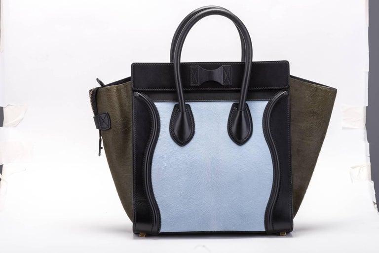 Black Celine Tricolor Pony Hair Mini Luggage Bag For Sale