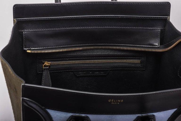 Celine Tricolor Pony Hair Mini Luggage Bag For Sale 3