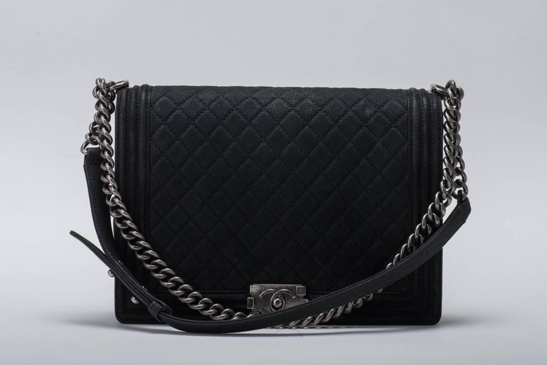 Chanel new in box jumbo matte caviar leather boy bag. Shoulder drop 12/20