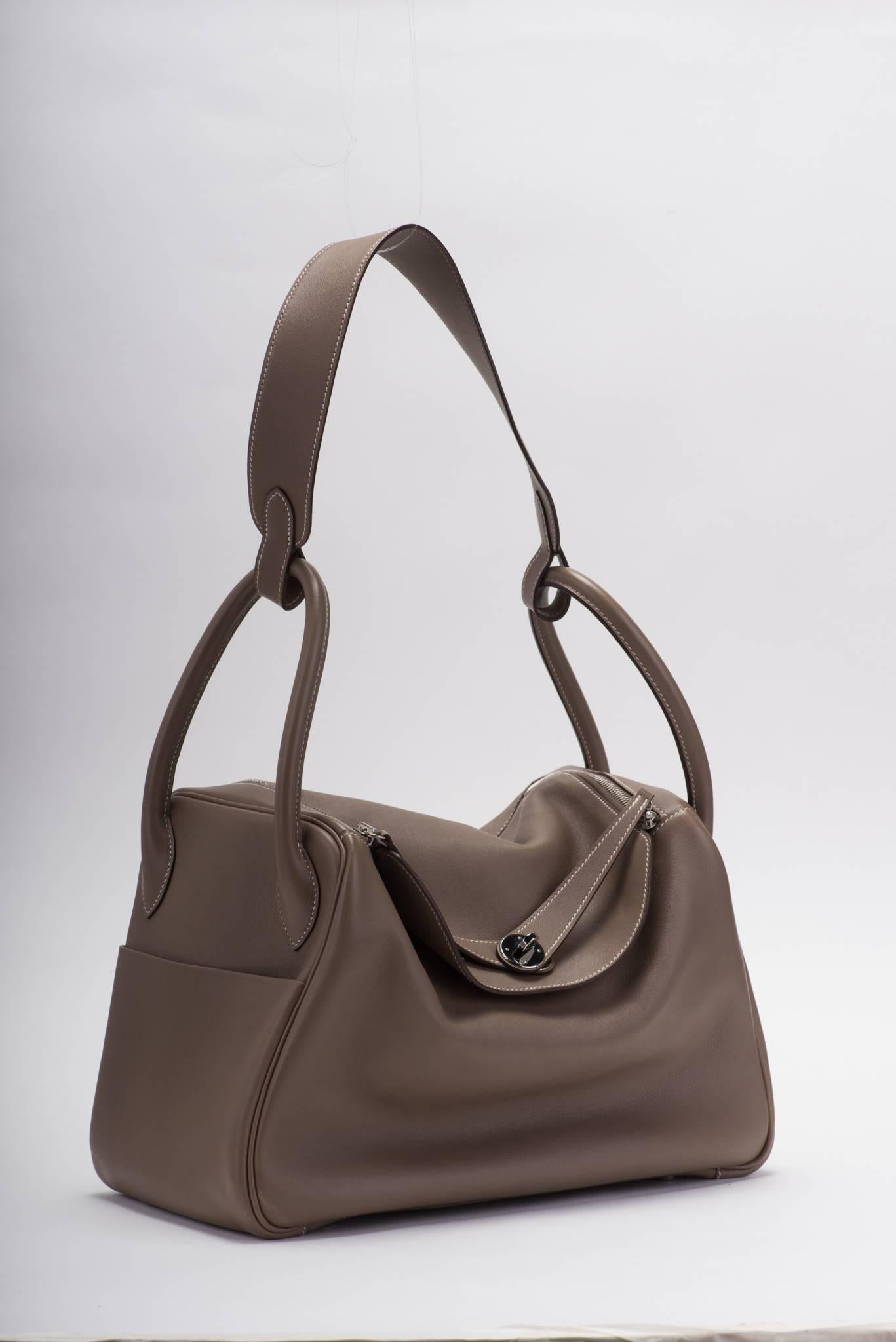 13499 7d01c  australia hermes lindy bag 34 cm in troupe swift leather and  palladium hardware. dated 43651 d16e169795a34