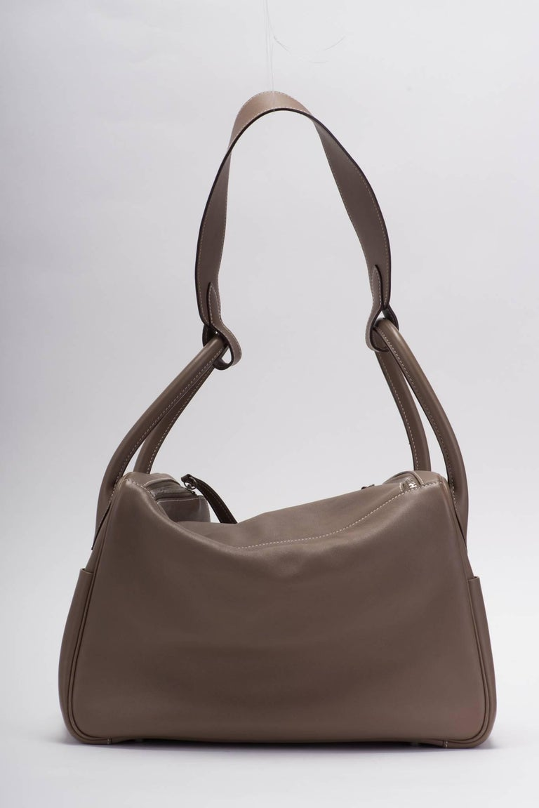 Black Hermes Etoupe Swift Palladium Lindy Bag 34cm For Sale