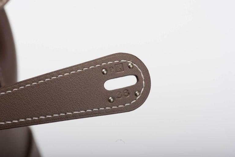Hermes Etoupe Swift Palladium Lindy Bag 34cm For Sale 1