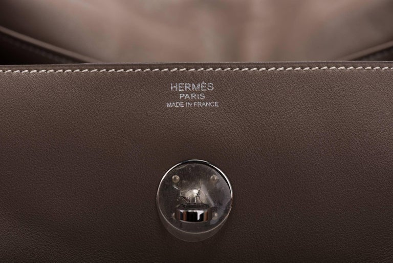 Hermes Etoupe Swift Palladium Lindy Bag 34cm For Sale 2