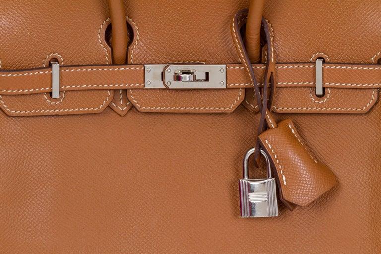 79178deab72 Hermes Birkin 25 CM Gold Epsom Palladium Bag For Sale at 1stdibs